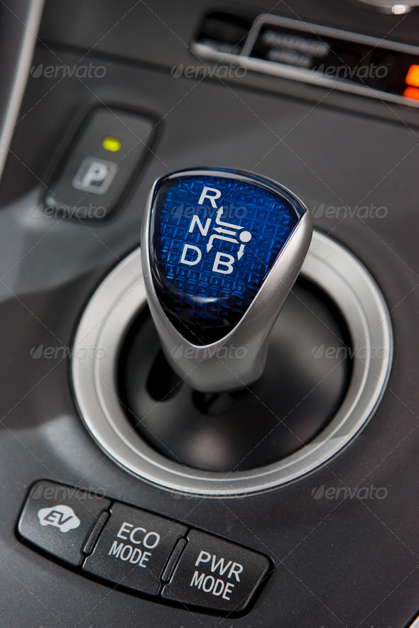 Hybrid car gear shifter - Stock Photo - Images