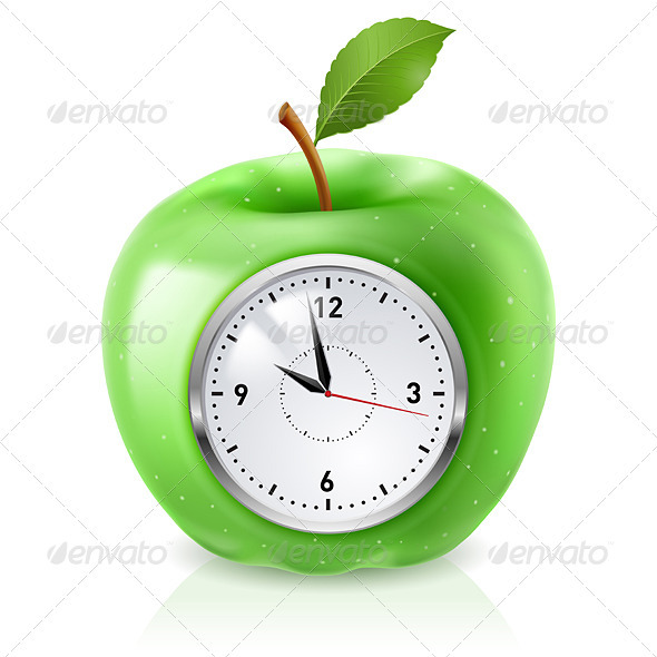 Green apple clock - Industries Business