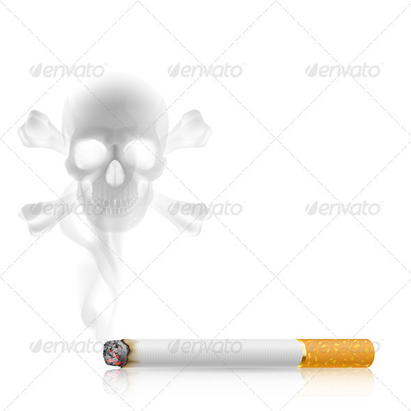 Cigarette and Skull shaped smoke - Miscellaneous Vectors