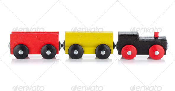 Wooden toy colored train - Stock Photo - Images