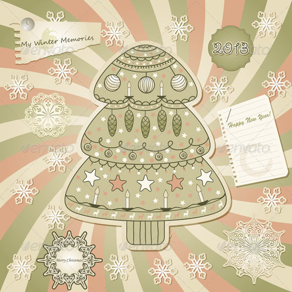 Vector  Greeting Card with Fir Tree, Scrapbook Sty - Christmas Seasons/Holidays