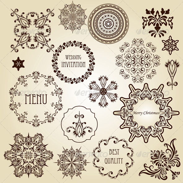 Vector Vintage Design Elements - Decorative Symbols Decorative