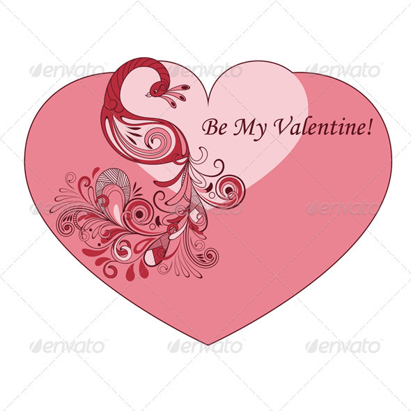 Vector Heart Shape Valentine's Greeting Card with  - Valentines Seasons/Holidays