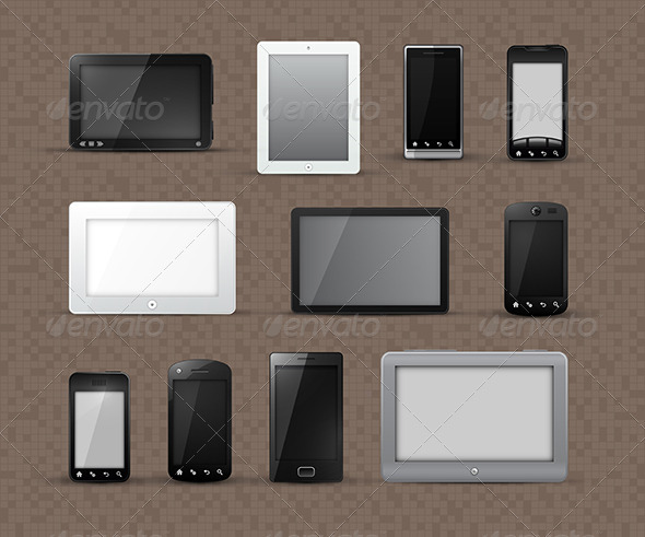 Tablet Devices and Smart Phone Icons - Communications Technology