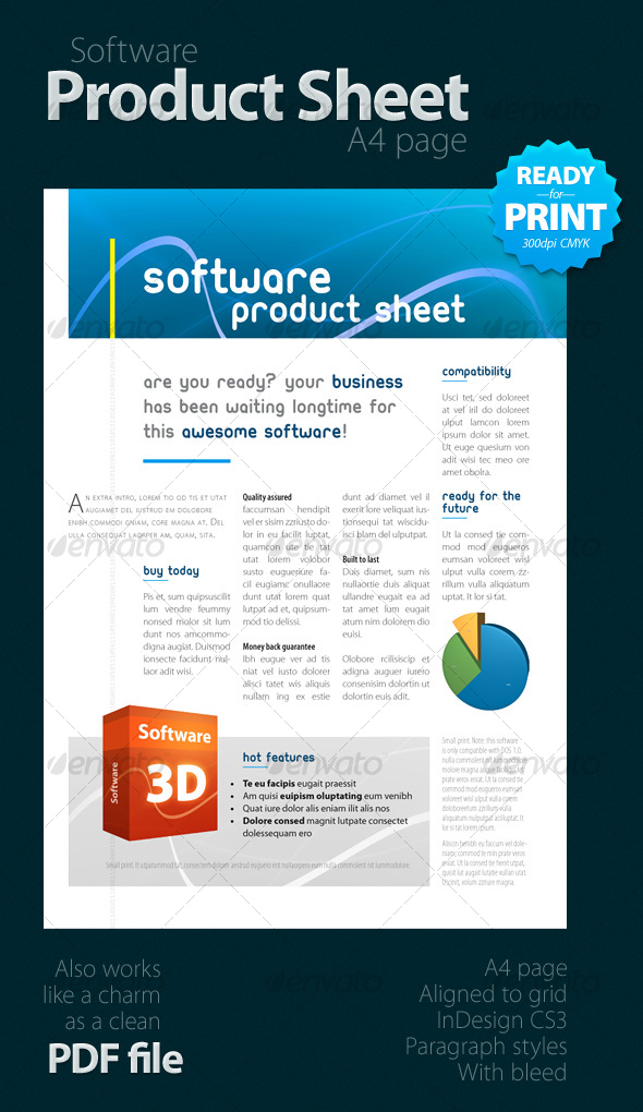Software Product Sheet A4 By Geertdd Graphicriver