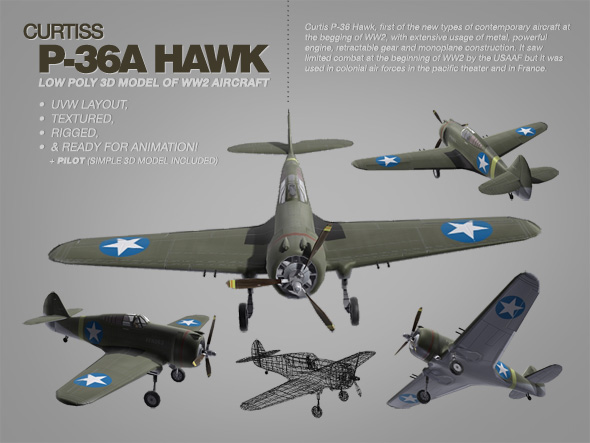 Curtis P-36 Hawk 3ds max model of WW2 aircraft - 3DOcean Item for Sale