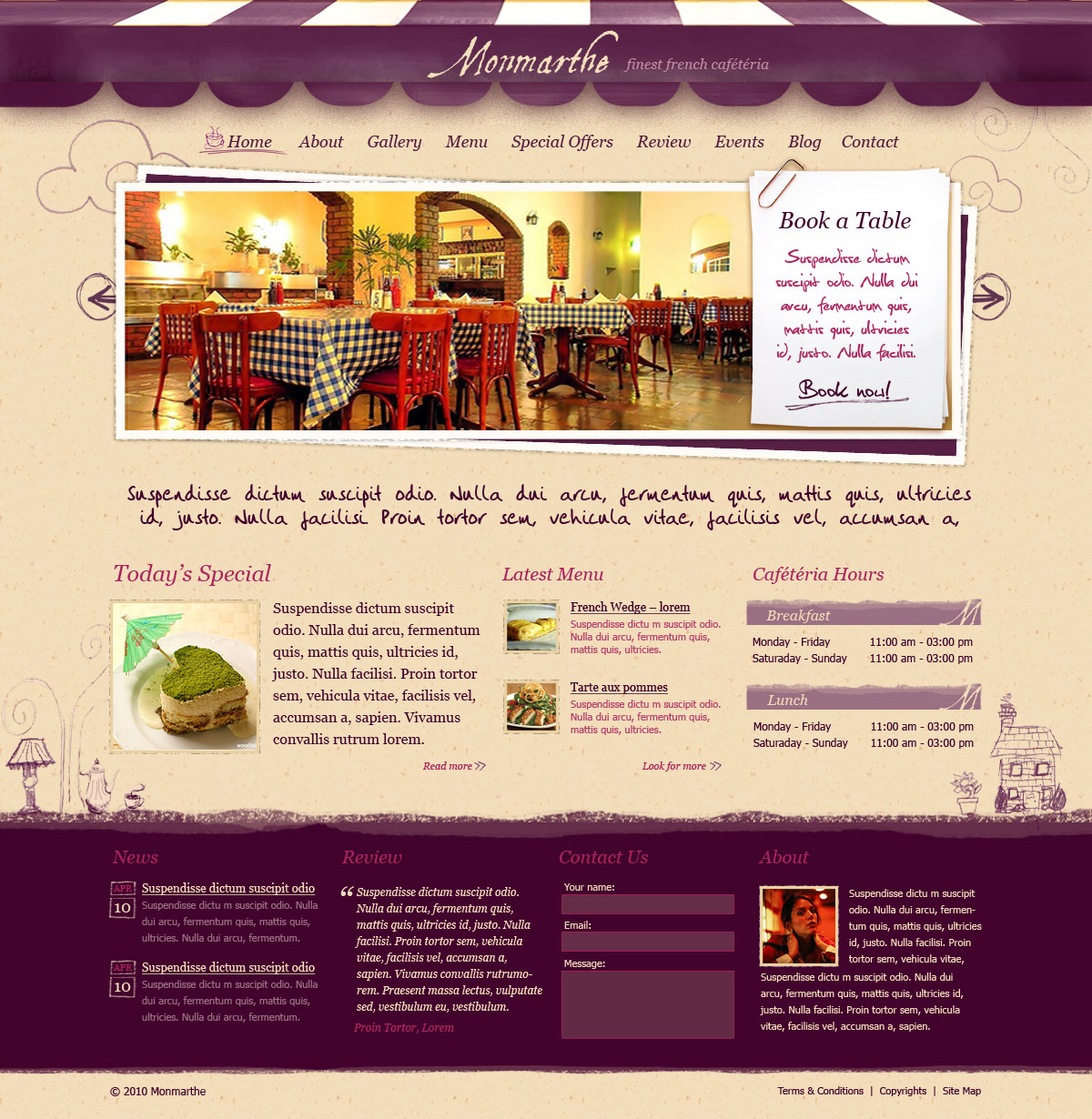 Monmarthe restaurant cafe html template by