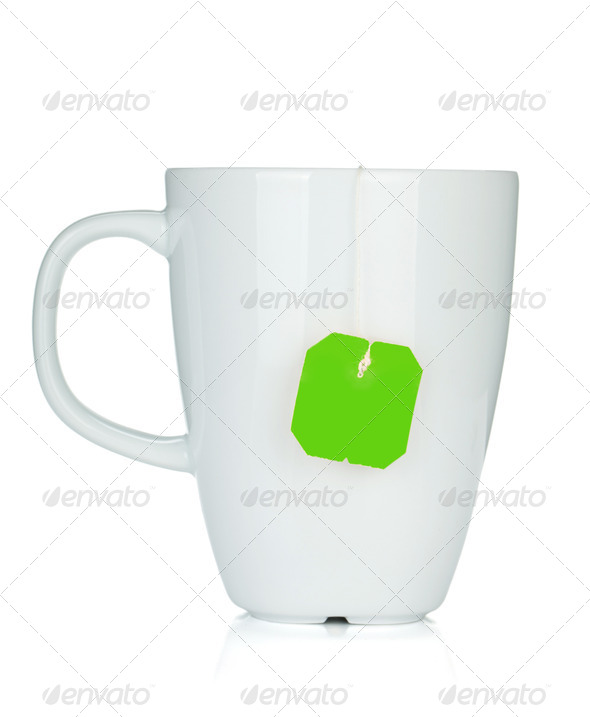 White tea cup with teabag - Stock Photo - Images
