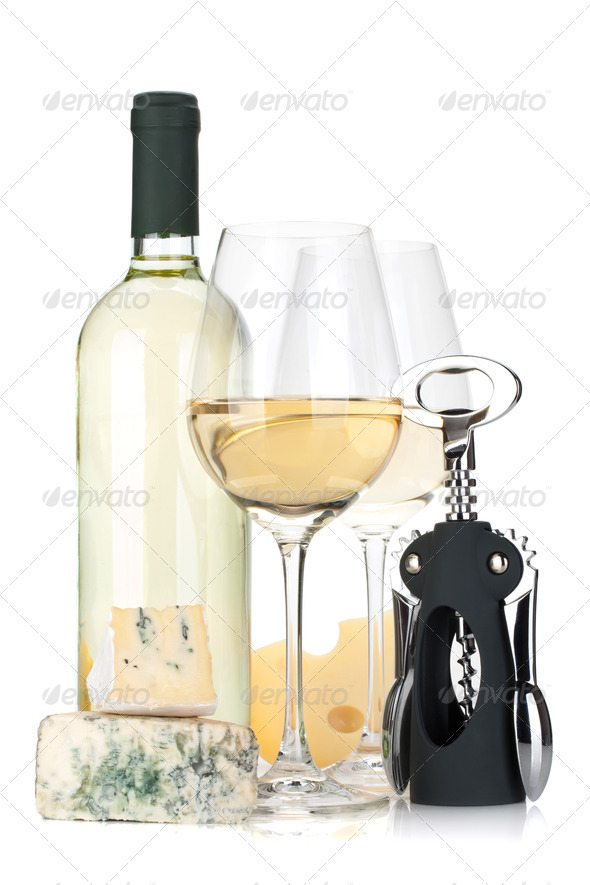 White wine bottle, two glasses, cheese and corkscrew - Stock Photo - Images