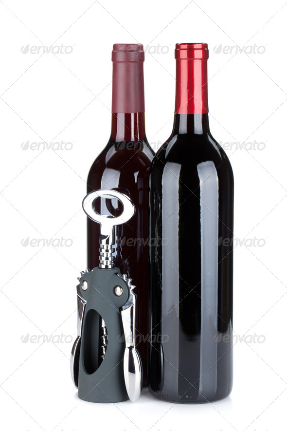 Two red wine bottles - Stock Photo - Images