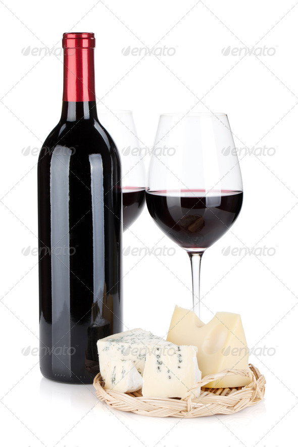 Various types of cheeses and red wine - Stock Photo - Images