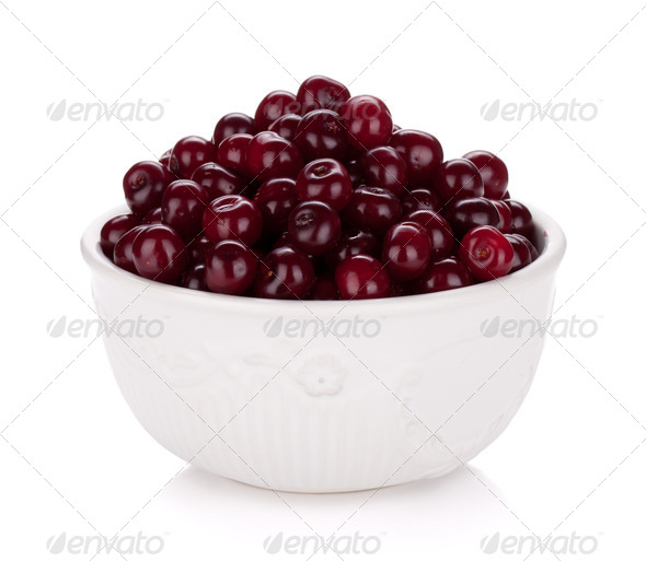 Fresh ripe cherries in bowl - Stock Photo - Images