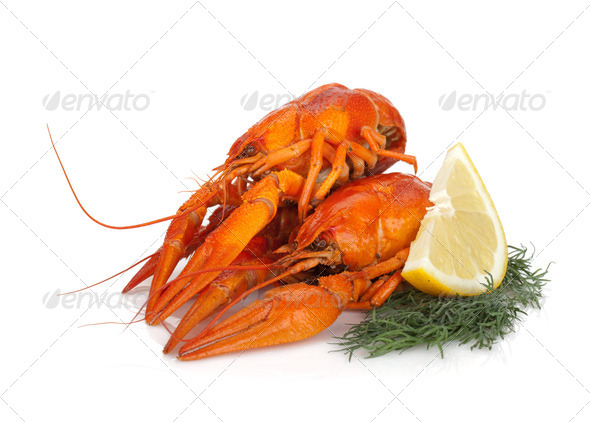 Boiled crayfishes with lemon slice and dill - Stock Photo - Images