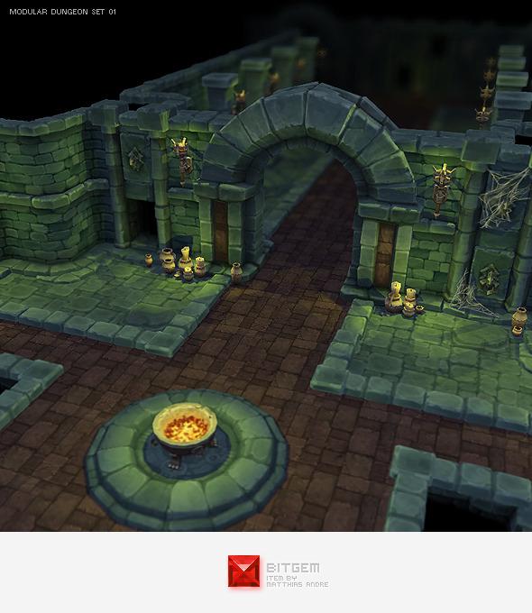 Low Poly Modular Dungeon Starter Set - 3DOcean Item for Sale