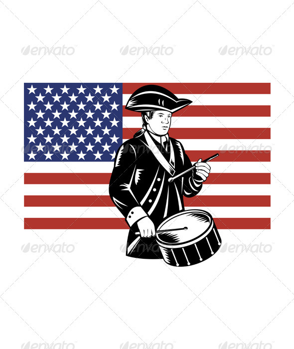 American Patriot Drummer Stars and Stripes Flag  - People Characters