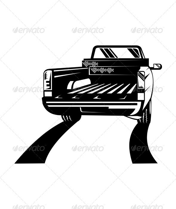 Pickup Truck Rear Retro - Man-made Objects Objects