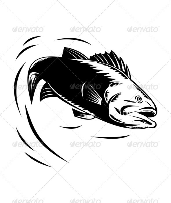 sea bass jumping retro - Animals Characters