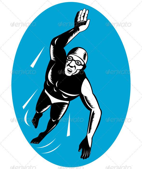 Swimmer Swimming Retro - Sports/Activity Conceptual