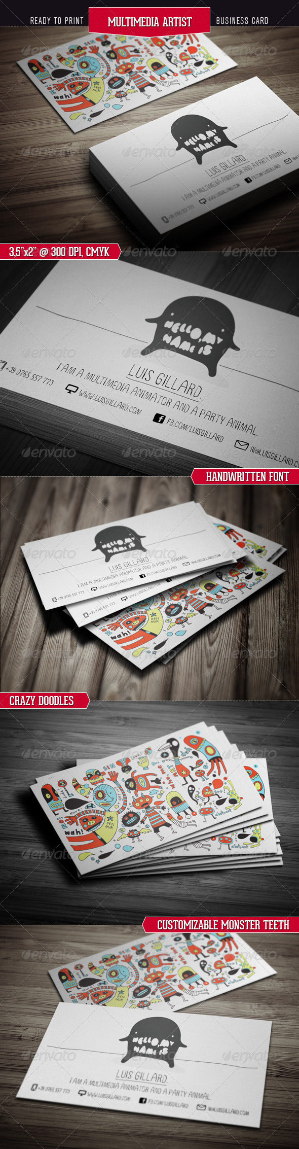 Multimedia Artist Business Card - Creative Business Cards