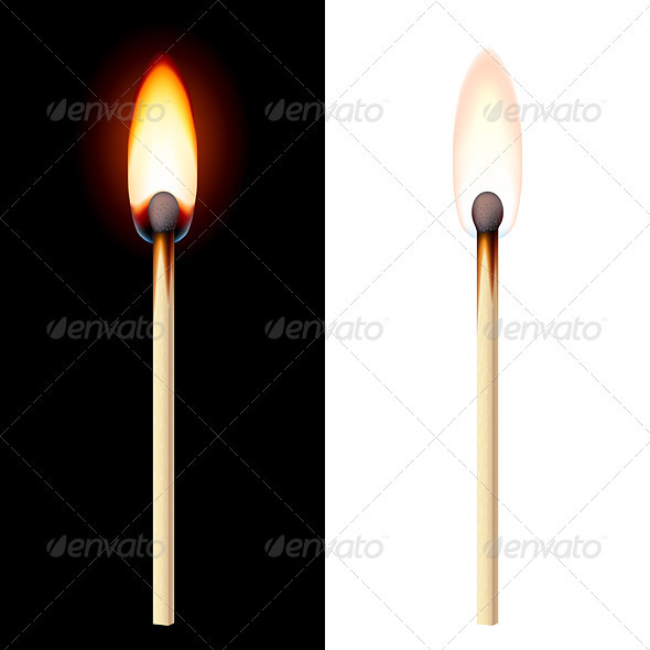Realistic burning match - Objects Vectors