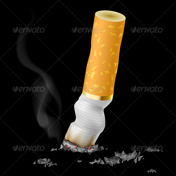 Realistic cigarette butt - Objects Vectors