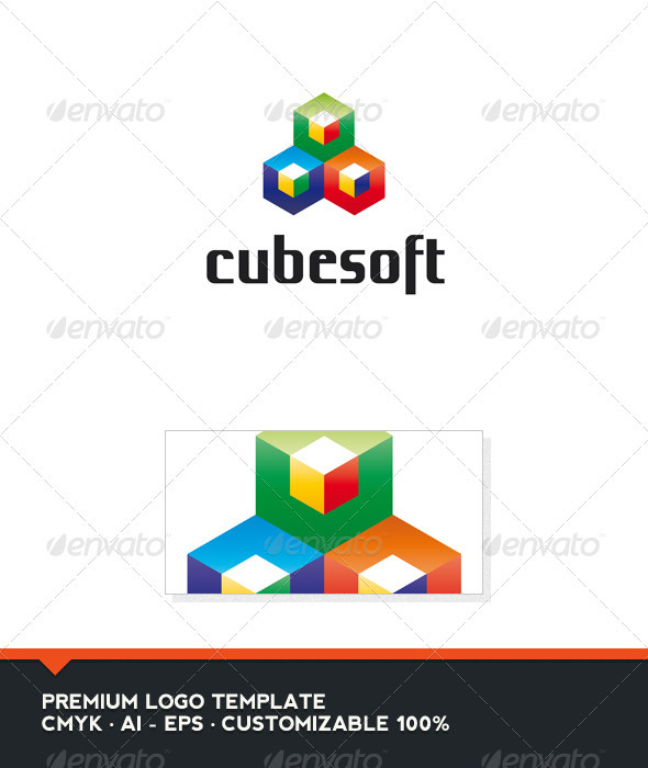 Cubesoft - Colored Cubes Logo Template - 3d Abstract