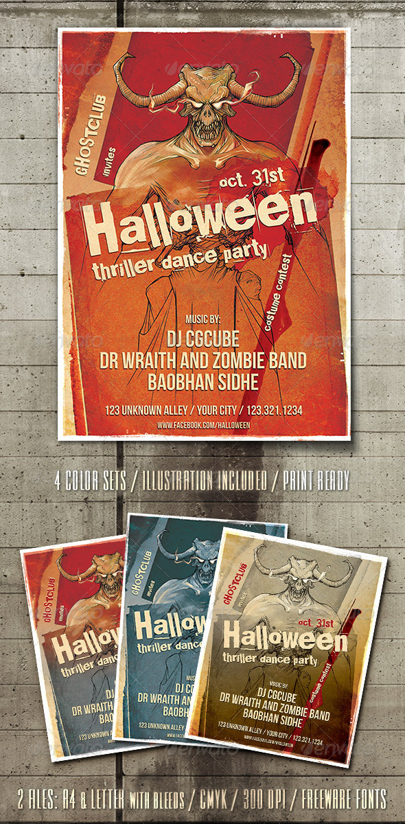 Halloween Thriller Flyer Template - Clubs & Parties Events