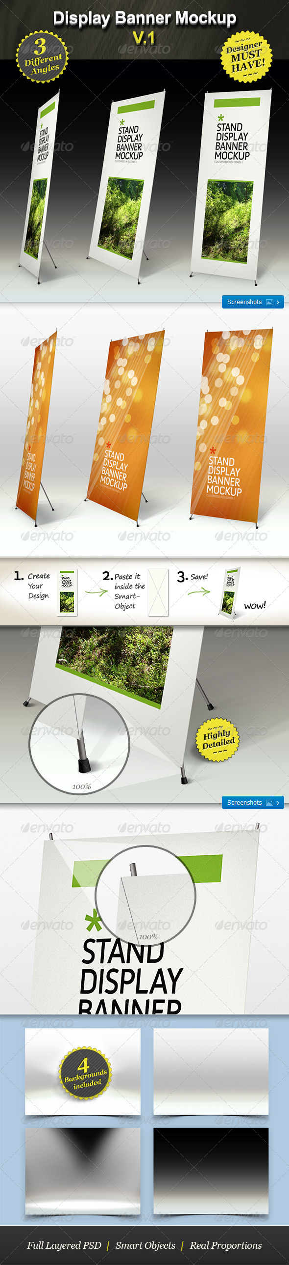 Stand Display Mockup - Roll-up Smart Template - Signage Print