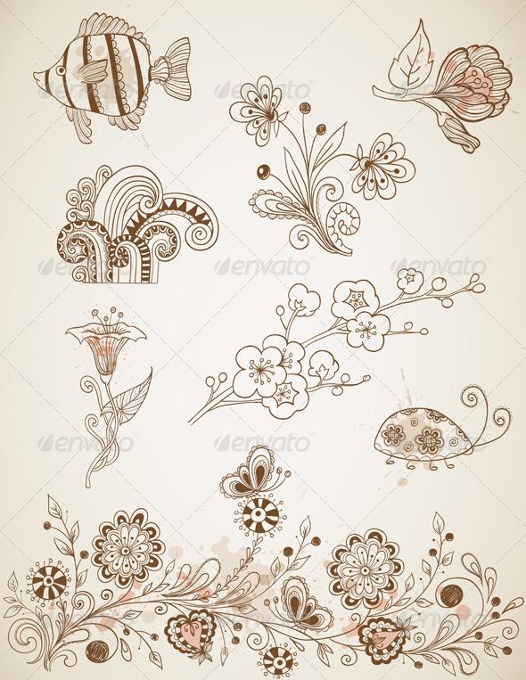 Doodle Vector Design Elements - Decorative Symbols Decorative