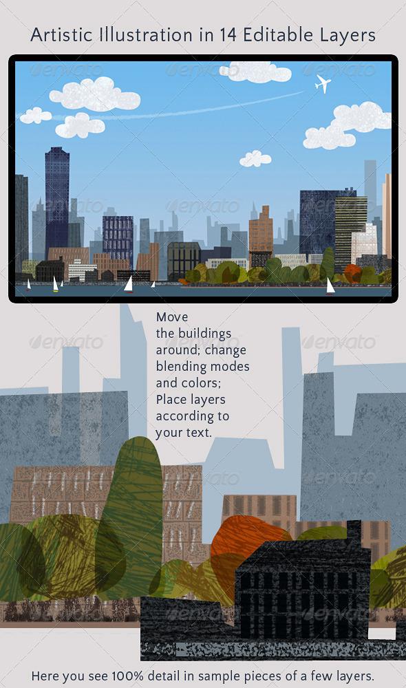 City Skyline; Artistic Modern Design Illustration - Urban Backgrounds