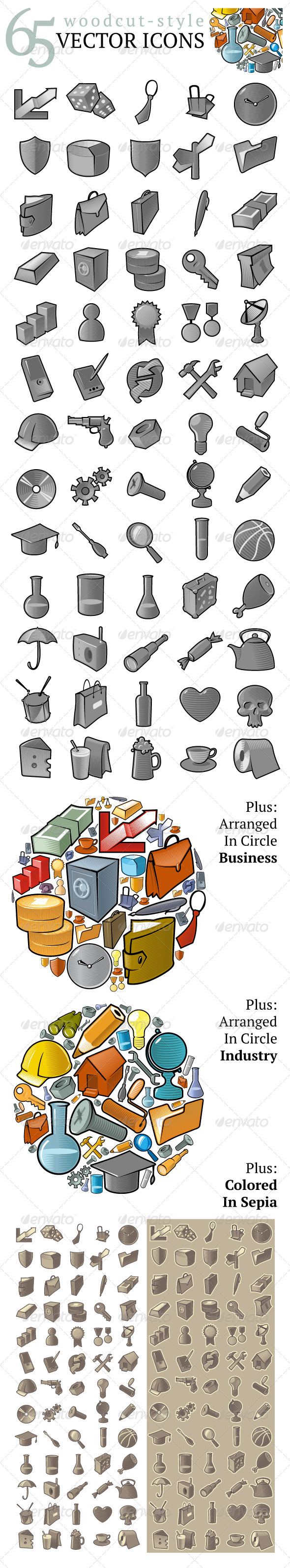 65 Woodcut-Style Vector Icons - Web Icons