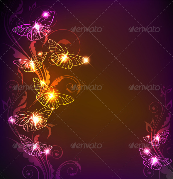 Background with Butterflies - Backgrounds Decorative