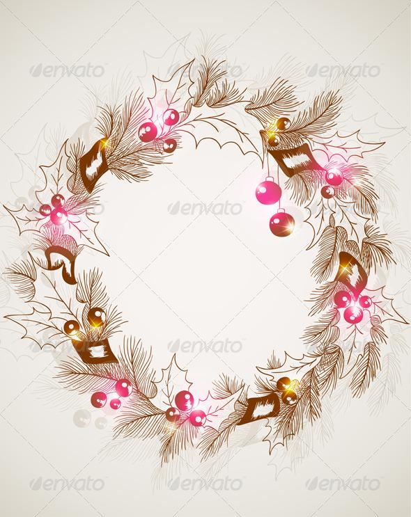 Christmas Background with Wreath - Christmas Seasons/Holidays