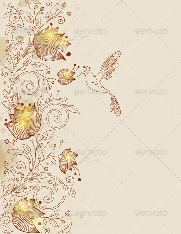 Hand Drawn Floral Background - Backgrounds Decorative