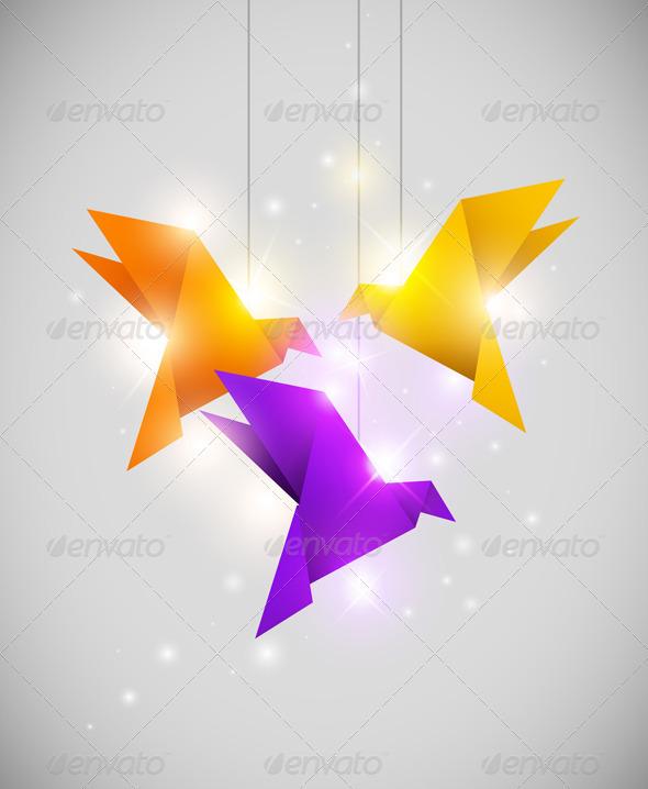 Origami Birds - Backgrounds Decorative