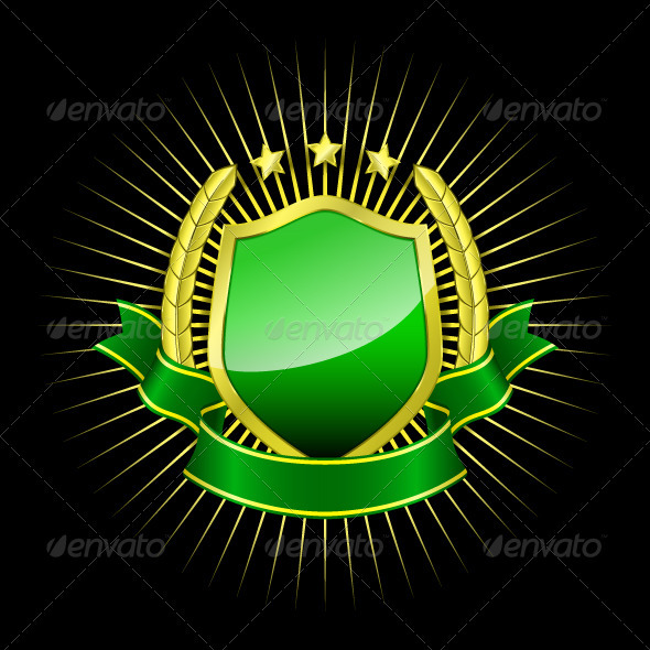 Golden Shield with Green Button - Decorative Symbols Decorative