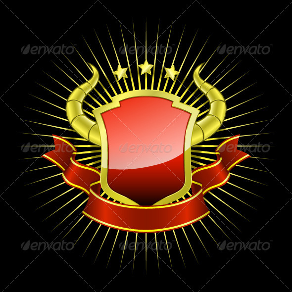 Golden_shield_with_red_ribbon - Decorative Symbols Decorative