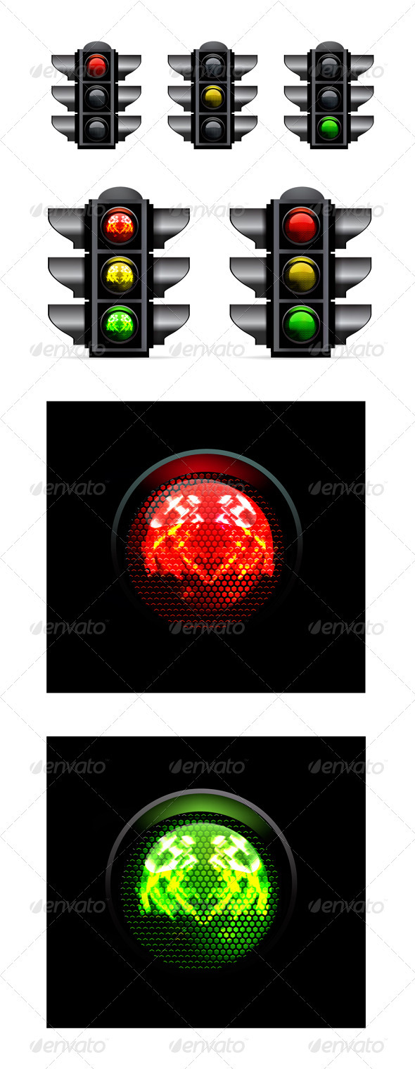 Traffic Lights Vector Illustration - Man-made Objects Objects