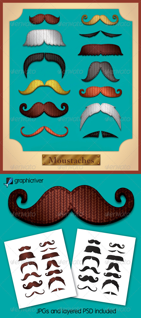 Knitted Moustaches - Objects Vectors