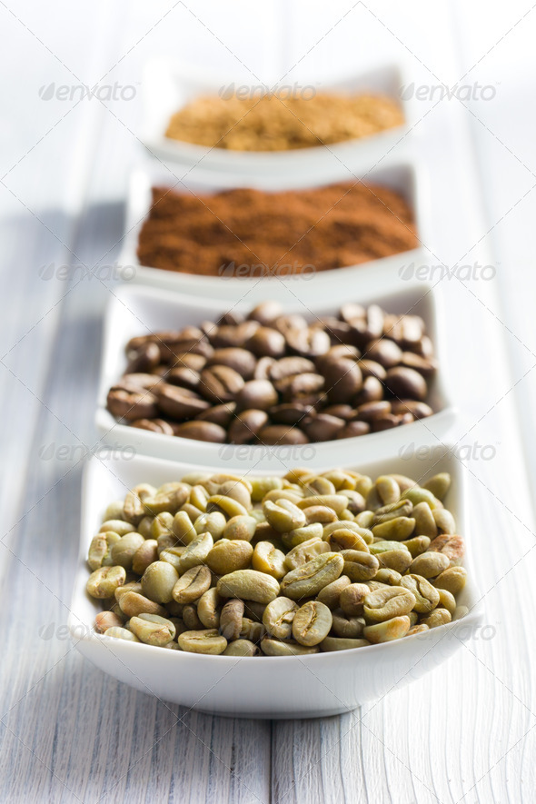 green, roasted, ground and instant coffee - Stock Photo - Images