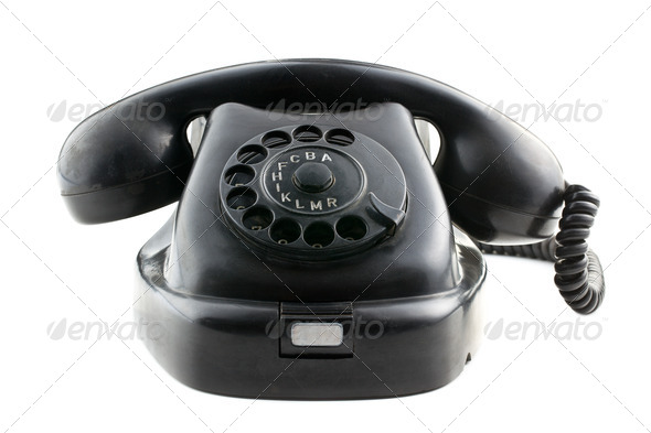 antique black phone - Stock Photo - Images