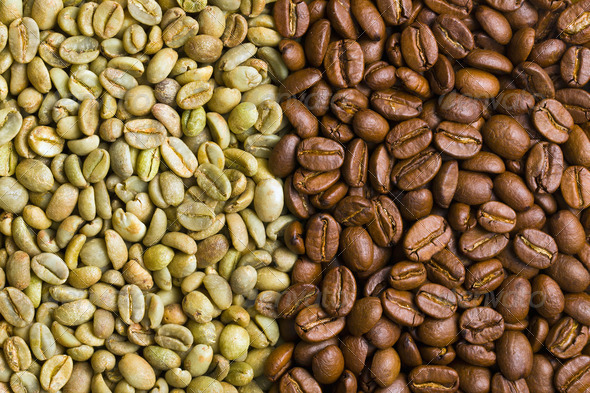 green and  roasted  coffee beans - Stock Photo - Images