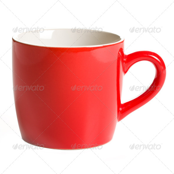 red coffee mug - Stock Photo - Images