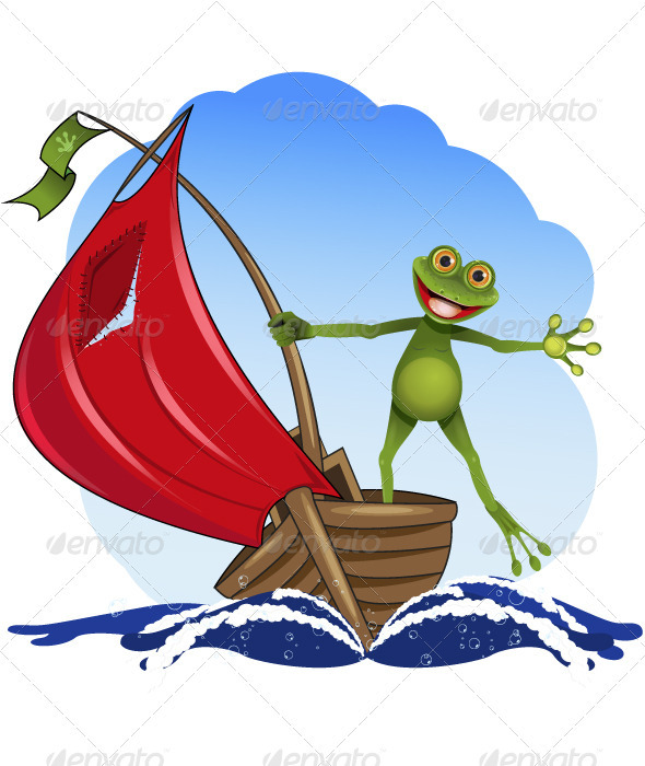 frog on a boat - Animals Characters