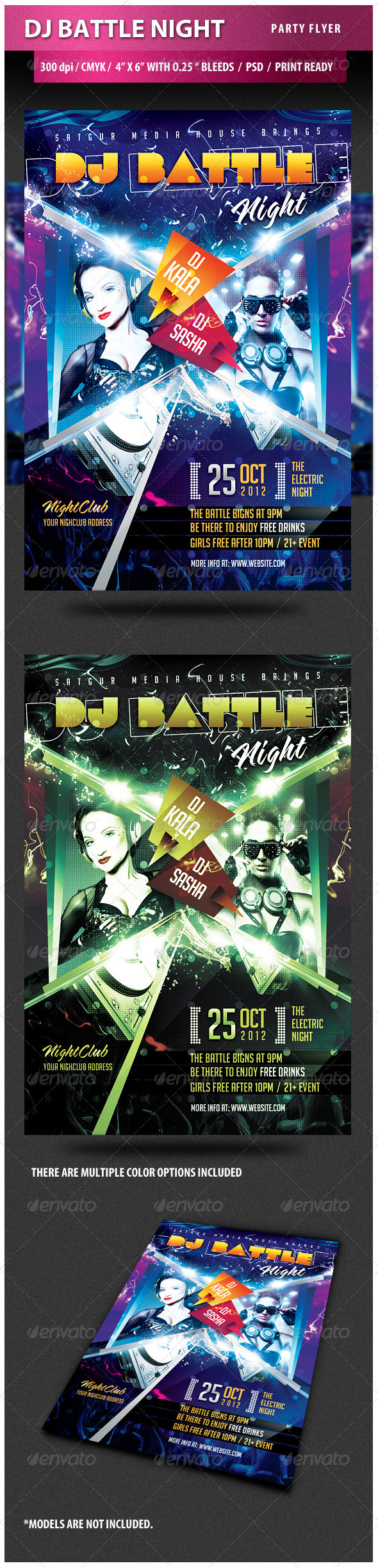 DJ Battle Night Party Flyer - Clubs & Parties Events
