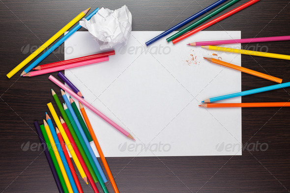 Blank Sheet Of Paper With Colorful Pencils Creative Process - Stock Photo - Images