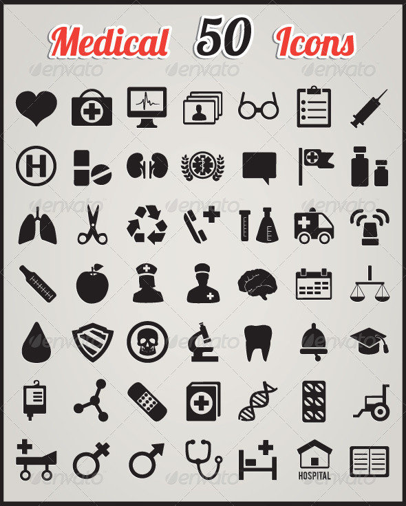 Set of 50 medical icons for design - Health/Medicine Conceptual