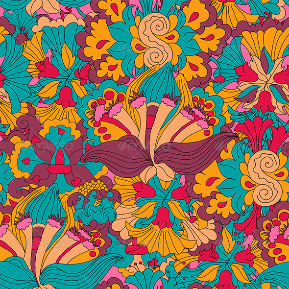 Seamless Abstract Hand-Drawn Floral Pattern - Patterns Decorative