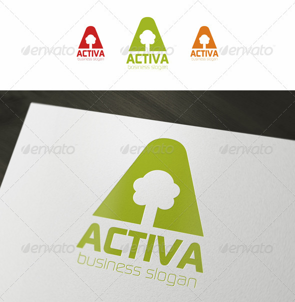 A Letter Tree - Activa - Letters Logo Templates
