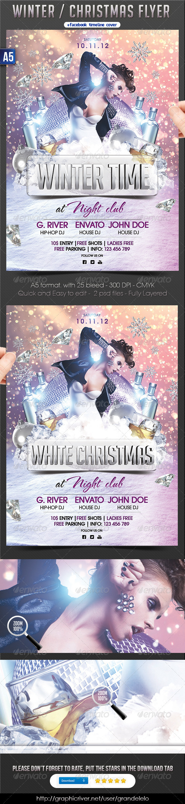 Winter Party Flyer + FB Timeline - Clubs & Parties Events